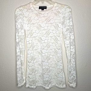 Together White Lace Sheer Long Sleeve Top